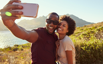 Couple taking selfie on vacation